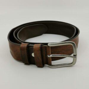 Cintura in vera pelle marrone
